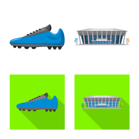 Vector illustration of soccer and gear icon. Set of soccer and tournament stock vector illustration. Ilustración de vector