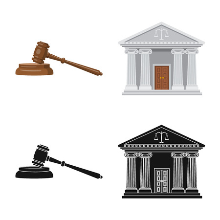 Isolated object of law and lawyer logo. Set of law and justice stock symbol for web.