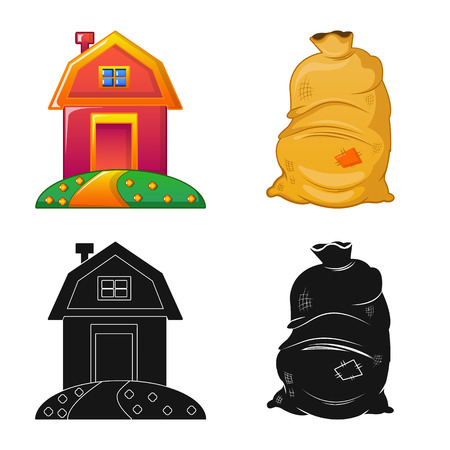 Vector illustration of farm and agriculture icon. Collection of farm and plant stock vector illustration. Ilustrace