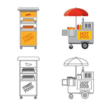 Isolated object of market and exterior icon. Collection of market and food vector icon for stock.