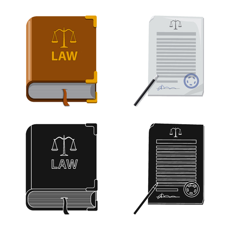 Isolated object of law and lawyer icon. Set of law and justice vector icon for stock.