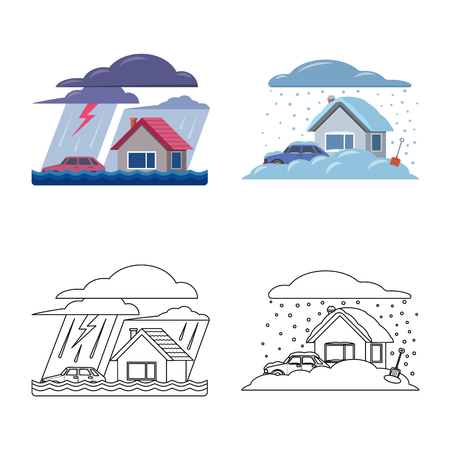Vector illustration of natural and disaster sign. Set of natural and risk stock symbol for web.