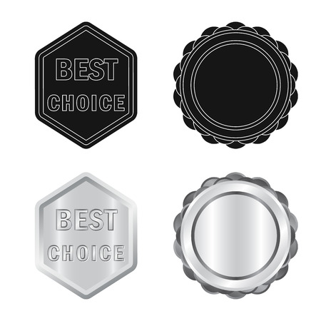 Vector illustration of emblem and badge symbol. Set of emblem and sticker vector icon for stock.