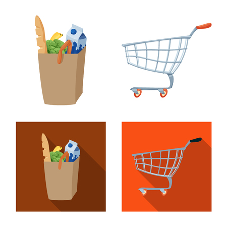 Isolated object of food and drink symbol. Set of food and store vector icon for stock. Illustration