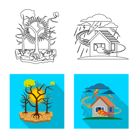 Vector illustration of natural and disaster icon. Set of natural and risk stock symbol for web.