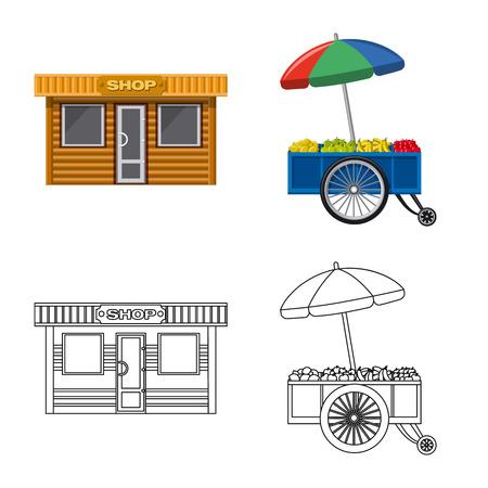Diseño vectorial de mercado y cartel exterior. Conjunto de símbolo de stock de mercado y alimentos para web.