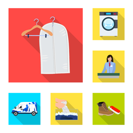 Vector illustration of laundry and clean icon. Set of laundry and clothes stock symbol for web.