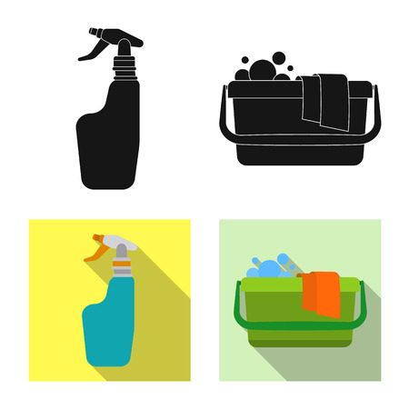 Vector illustration of cleaning and service symbol. Collection of cleaning and household stock symbol for web.
