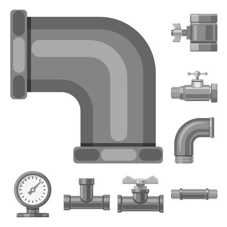 Ilustración de vector de icono de tubería y tubo. Conjunto de icono de vector de tubería y tubería para stock.