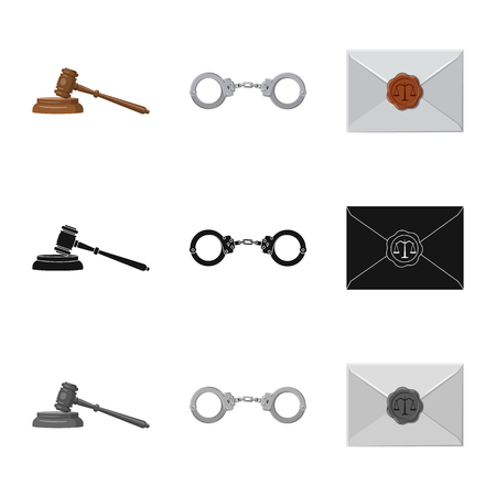 Vector design of law and lawyer sign. Set of law and justice stock symbol for web.