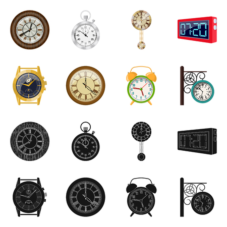 Vector design of clock and time symbol. Set of clock and circle vector icon for stock.