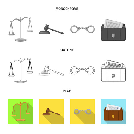 Vector design of law and lawyer logo. Collection of law and justice stock vector illustration.