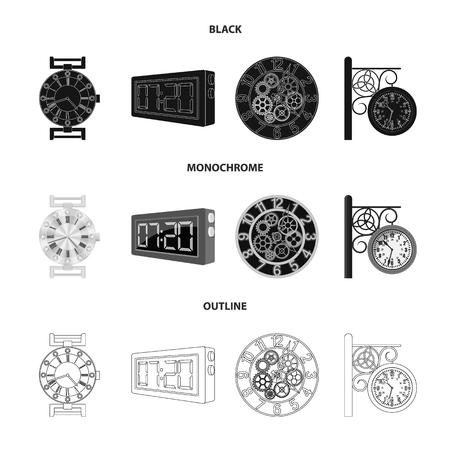 Vektordesign des Uhr- und Zeitsymbols. Sammlung von Uhr- und Kreisvorrat-Vektorillustration.