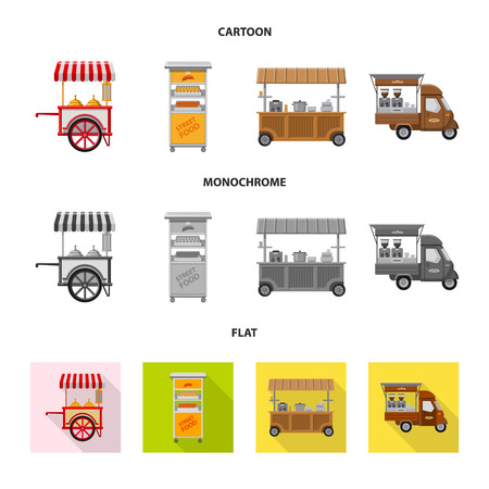 Isolated object of market and exterior icon. Collection of market and food stock vector illustration.