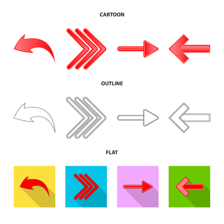 Vector design of element and arrow icon. Set of element and direction stock symbol for web.