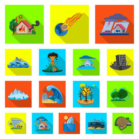 Vector illustration of natural and disaster icon. Set of natural and risk vector icon for stock. Illustration