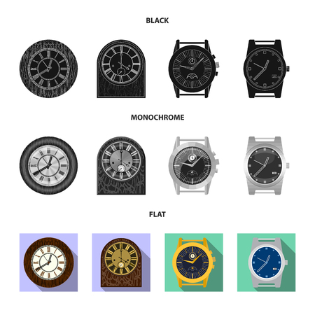Vector design of clock and time icon. Set of clock and circle vector icon for stock.