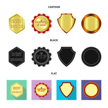 Vector design of emblem and badge symbol. Collection of emblem and sticker stock symbol for web.