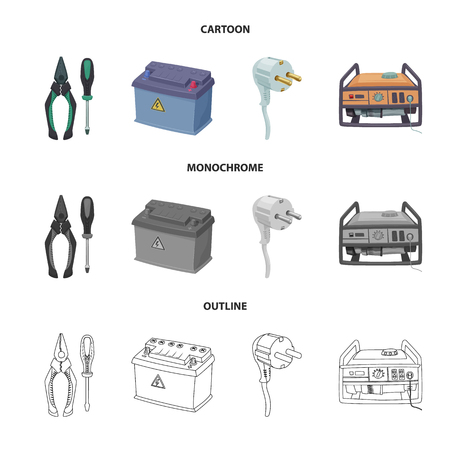 Isolated object of electricity and electric icon. Collection of electricity and energy stock vector illustration.