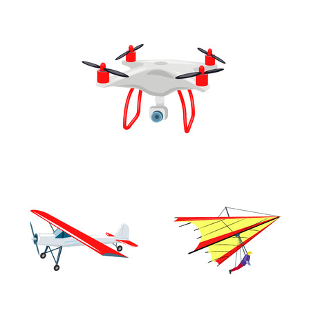 Vector illustration of plane and transport icon. Collection of plane and sky vector icon for stock. Stock Vector - 112358788