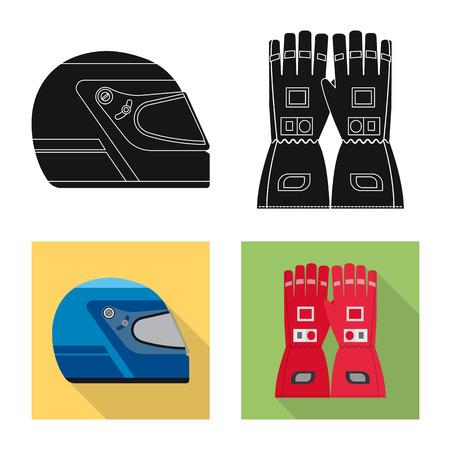 Vectorillustratie van auto en rally-symbool. Set van auto en race vector pictogram voor voorraad. Vector Illustratie