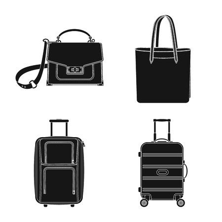 Ilustración de vector de signo de maleta y equipaje. Colección de icono de vector de maleta y viaje para stock.