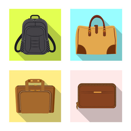 Vector design of suitcase and baggage icon. Set of suitcase and journey stock vector illustration.