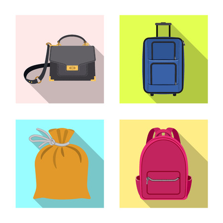 Vector design of suitcase and baggage sign. Collection of suitcase and journey stock vector illustration.