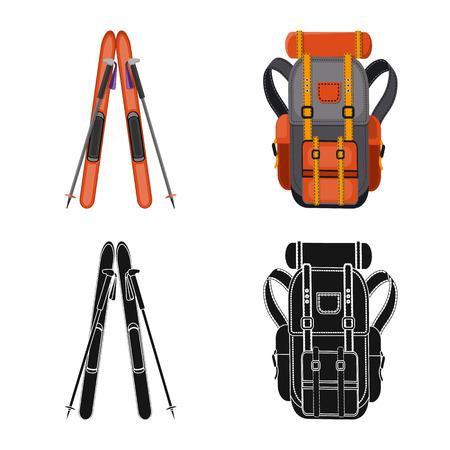 Vector illustration of mountaineering and peak sign. Set of mountaineering and camp vector icon for stock.