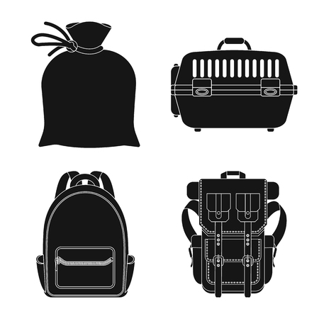 Isolated object of suitcase and baggage symbol. Collection of suitcase and journey vector icon for stock.