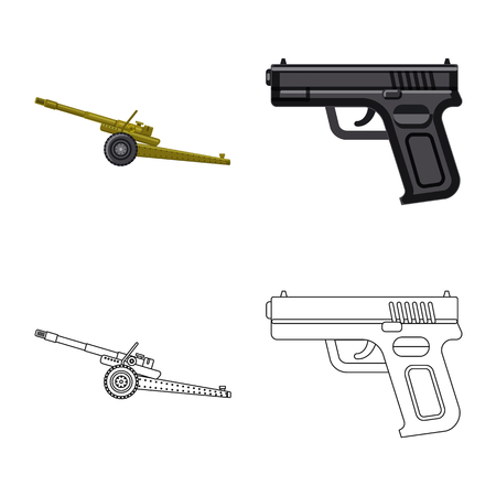 Vector design of weapon and gun symbol. Collection of weapon and army stock symbol for web.