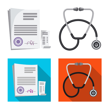 Vector illustration of pharmacy and hospital icon. Set of pharmacy and business vector icon for stock. Vektorové ilustrace