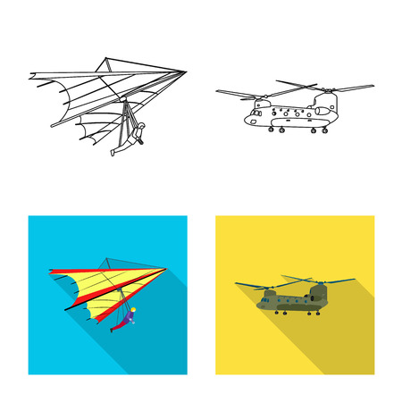 Isolated object of plane and transport sign. Set of plane and sky stock symbol for web. Çizim