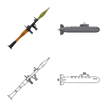 Vector illustration of weapon and gun sign. Set of weapon and army stock vector illustration. Illustration