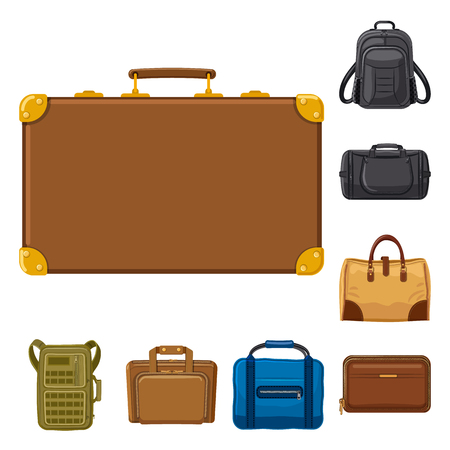 Vector illustration of suitcase and baggage logo. Set of suitcase and journey stock vector illustration. Vettoriali