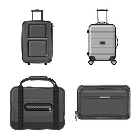 Isolated object of suitcase and baggage symbol. Collection of suitcase and journey stock vector illustration.