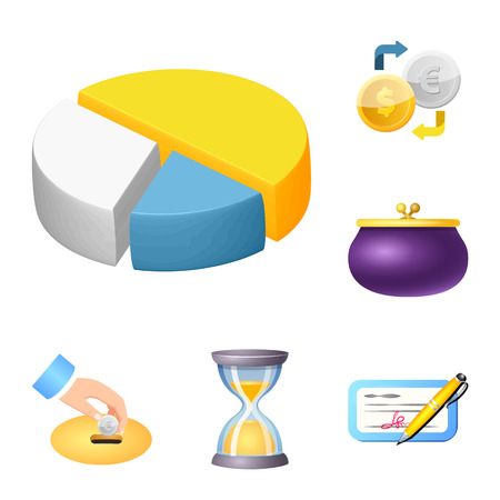 Diseño vectorial de icono de banco y dinero. Colección de símbolo de acciones bancarias y facturas para web.