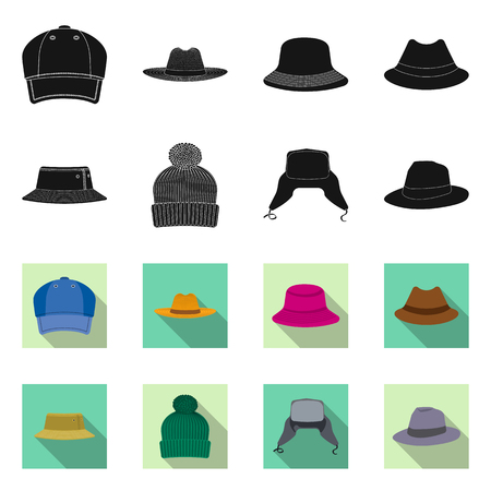 Vector illustration of headgear and cap sign. Collection of headgear and accessory stock symbol for web.