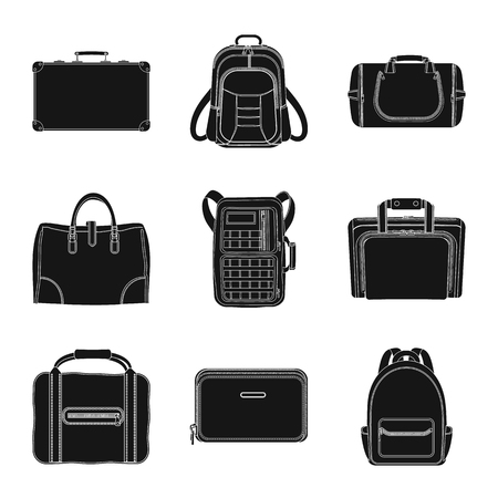 Isolated object of suitcase and baggage icon. Collection of suitcase and journey stock vector illustration. Vettoriali