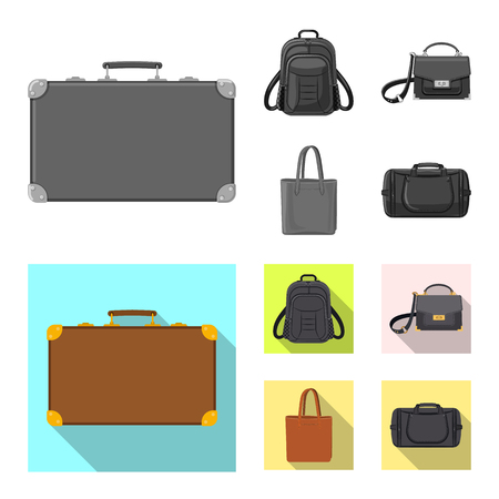 Vector design of suitcase and baggage icon. Collection of suitcase and journey stock vector illustration. Vettoriali