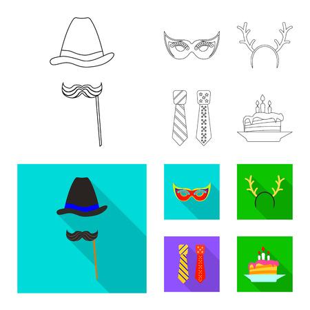 Oggetto isolato del simbolo di festa e compleanno. Raccolta di festa e celebrazione stock illustrazione vettoriale.