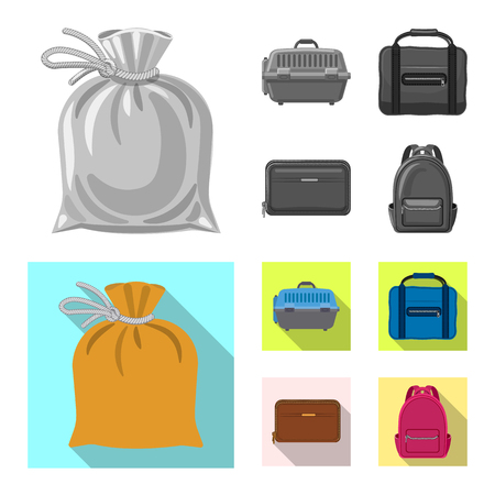 Vector design of suitcase and baggage icon. Set of suitcase and journey stock symbol for web.