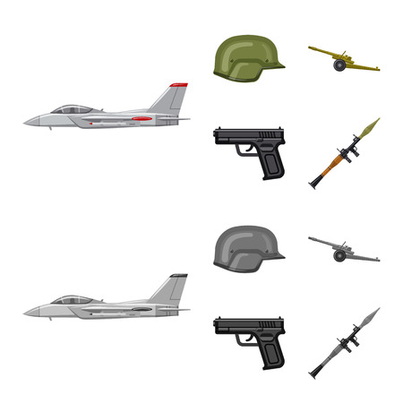 Isolated object of weapon and gun logo. Set of weapon and army stock symbol for web.