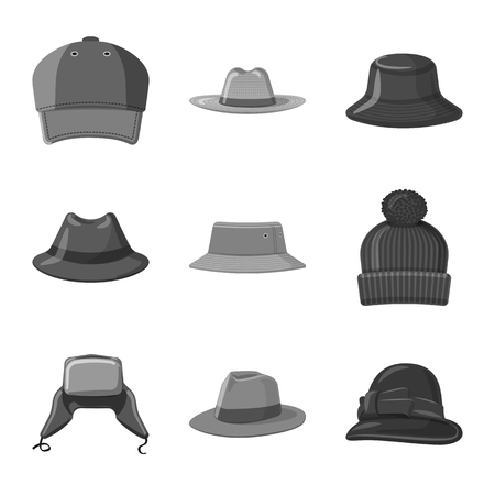 Isolated object of headgear and cap icon. Collection of headgear and accessory stock vector illustration.