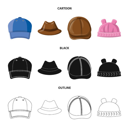 Vector design of headgear and cap icon. Collection of headgear and accessory stock symbol for web.