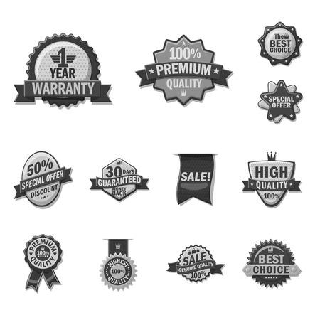 Vector illustration of emblem and badge symbol. Set of emblem and sticker stock symbol for web. Çizim