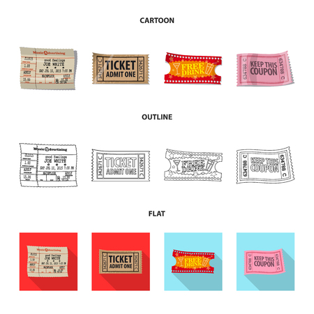 Isolated object of ticket and admission symbol. Set of ticket and event stock symbol for web.