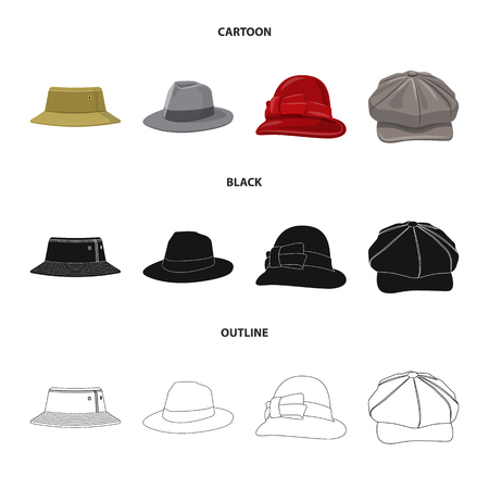 Isolated object of headgear and cap symbol. Collection of headgear and accessory vector icon for stock. 矢量图像