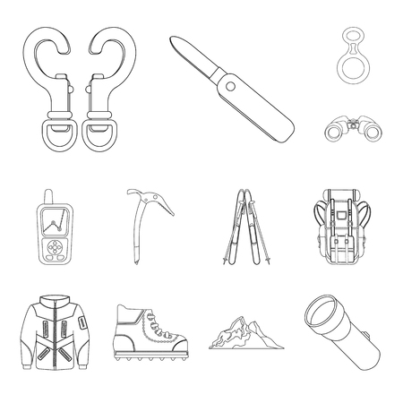 Isolated object of mountaineering and peak logo. Collection of mountaineering and camp vector icon for stock. Logó