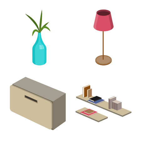 Isolated object of bedroom and room logo. Set of bedroom and furniture stock vector illustration.